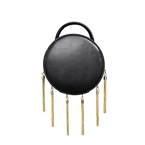 Fengkuo Handbag, Women's Personalized Fashion Round Bag, Pure Leather Casual Youth Cross-Body Bag, Exquisite High-end Dinner Shoulder Bag, with Tassels, 18 18 9 cm Shining