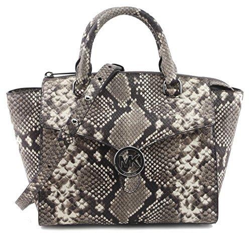 MICHAEL Michael Kors Women's Vanna Medium Satchel Handbag Embossed Natural Leather 35T7SV3S2E, Multi