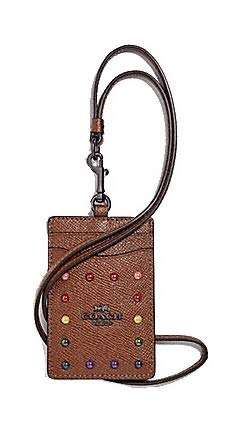 Coach Lanyard ID Card Case with Rainbow Rivet Dark Saddle F31997