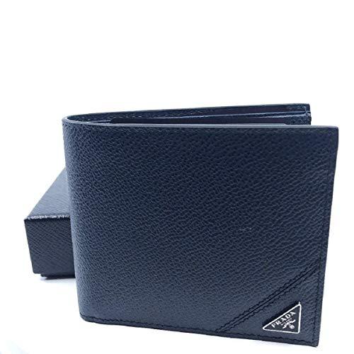Prada Orizzontale Blue Vitello Micro Grain Leather Iconic Triangle Logo Wallet 2MO513