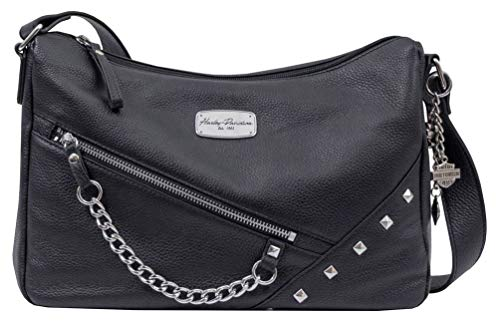Harley-Davidson Women's Chain Gang Leather Shoulder Bag, Black CG2384L-BLK