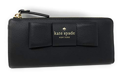 Kate Spade Nisha Robinson Street Leather Zip Around Continental Wallet Black Ribbon