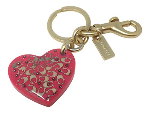 Coach Signature Heart Bag Charm Neon Pink F32230