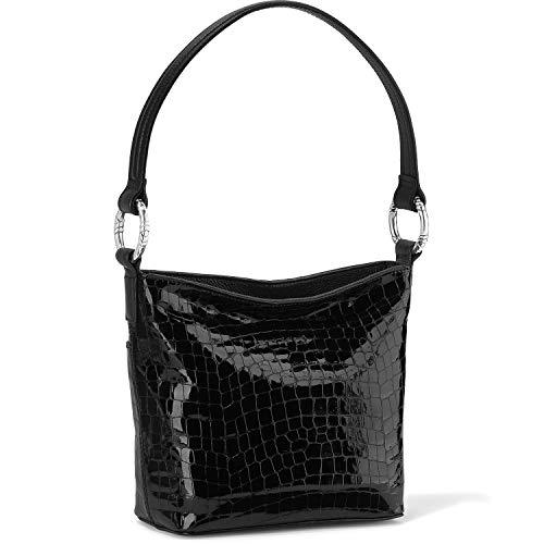 Brighton Cherie Soft Shoulder Bag Leather – BLACK [ 10″ X 8 1/2″ X 3 1/2″]
