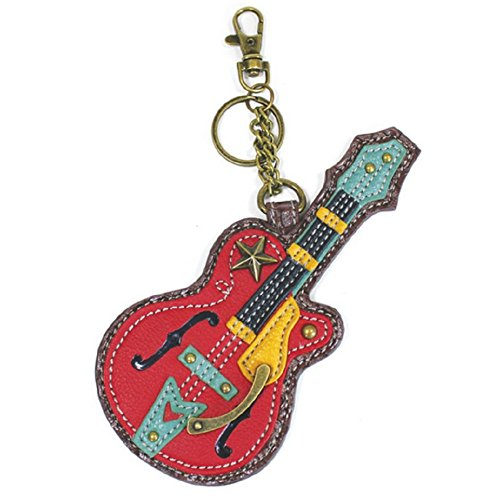 Chala Rock Star Guitar Key Chain Coin Purse Leather Bag Fob Charm New