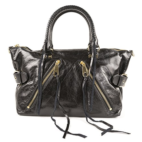Rebecca Minkoff HS16IDSS26 Black Crackled Leather Ladies Moto Satchel Purse