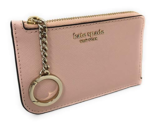 Kate Spade New York Medium L-Zip Card Holder Keychain Warm Vellum