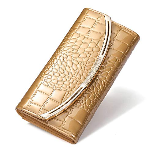 Women Leather Wallet Ladies Fashion Patent Leather Wallets Luxury Brand Coin Purse Female Clutch 3 Fold Cowhide Wallet,Gold