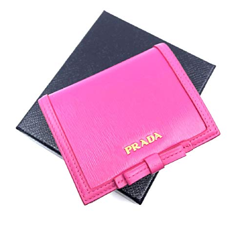 Prada Portafoglio Verticale Fuxia Pink Leather Vitello Move Flap Bow Wallet 1MV204