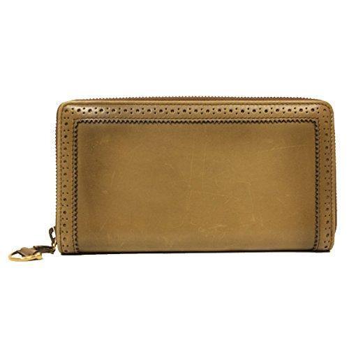 GUCCI Brogue Zip Around Brown Leather Wallet 295371
