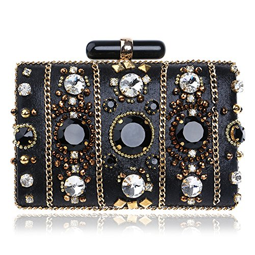 Banquet Bag Woman's Luxury Rhinestone-Encrusted Banquet Clutch Bag Lady Evening Bag Wedding Party Prom Evening Handbags (Black) Dinner Bag Wedding Prom Bag
