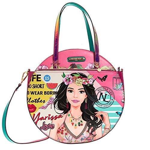 Nicole Lee Printed Floral Circle Women's Handbag, Fashion Handbag Shoulder Bag, Yarissa