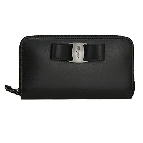 Salvatore Ferragamo Vara Black Leather Long Wallet 22D267 Zip Around NeroNero