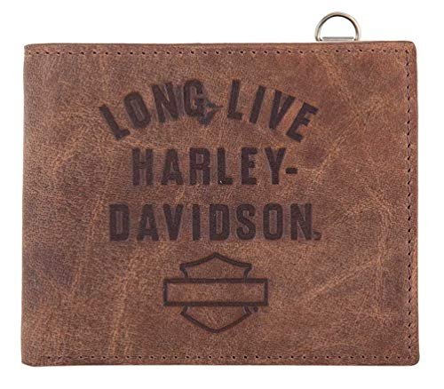 Harley-Davidson Men's Long Live Leather Bi-Fold Wallet w/RFID HDMWA11552-BRN