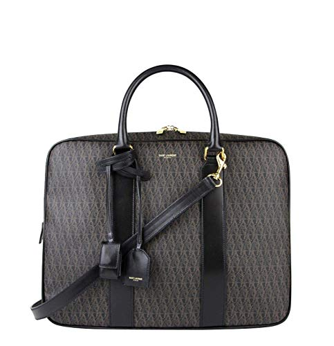 Saint Laurent Men's Briefcase Brown Monogram Travel Shoulder Bag 343700 1059Brown