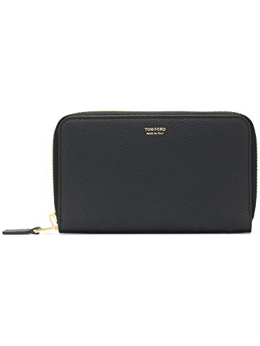 Tom Ford Grained Leather Travel Black Zip Wallet Pouch Case Y0253T Signature