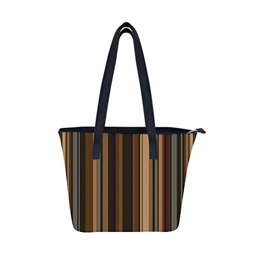 Abstract Retro Vertical Striped Women Leather Laptop Tote Office Shoulder Handbag Computer Briefcase