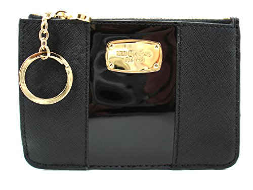 Michael Kors Center Stripe Leather Coin Pouch With ID, Black