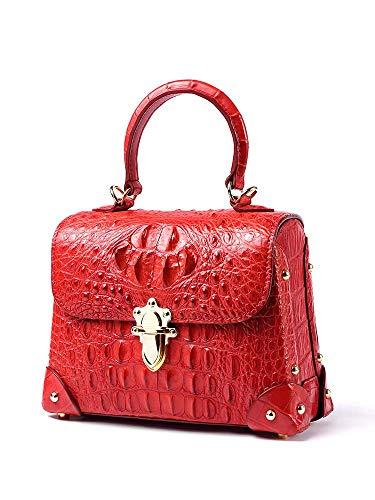 EEKUY Red Crocodile Leather Bag, Ladies Alligator Shoulder Bag Handbag Messenger Bag Ladies Banquet Clutch Bag Wallet Mobile Phone Cosmetic Storage Bag