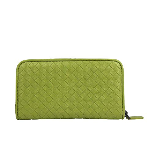 Bottega Veneta Women's Zip Around Metallic Green Leather Wallet 132358 7316