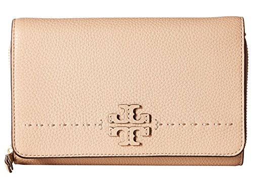 Tory Burch McGraw Flat Wallet Leather Wallet Crossbody in Devon Sand