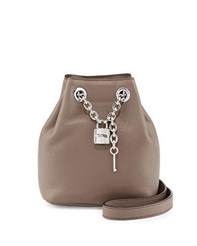 Michael Michael Kors Hadley Leather Drawstring Lock Messenger Handbag in Cinder