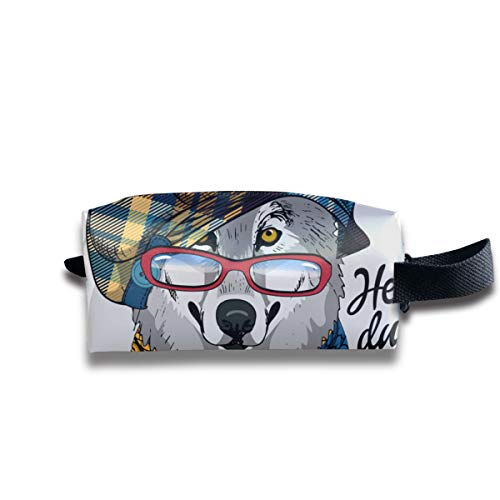 Gray Wolf With Red Glasses, Checkered Cap And Knitted Scarf Travel Makeup Bags Cosmetic Case Organizer for Women
