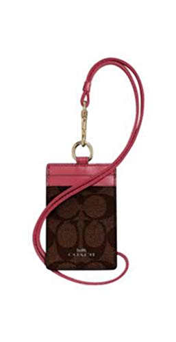 COACH F63274 SIGNATURE LANYARD ID CASE BROWN ROUGE
