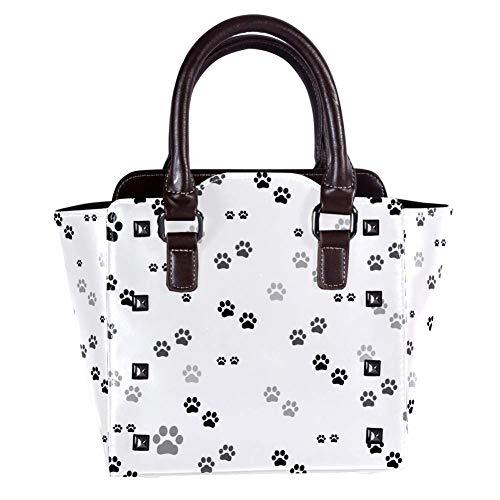 Top Handle Satchel Handbags Shoulder Bags for Women Ladies Leather Crossbody Bag with Black White Paw Print Print Tote Satchel Purse Messenger Hobo Handbag