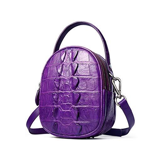 EEKUY Crocodile Leather Handbag, Alligator Crocodile Leather Purse Shoulder Bag Small Round Bag Handbag Gift for Girlfriend 7.08×5.71×3.54 Inch