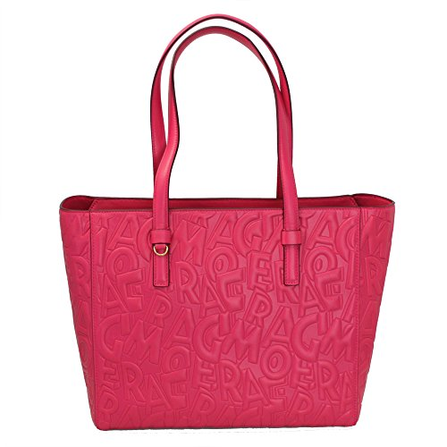 Salvatore Ferragamo Logos Pink Leather W/strap Tote Bag 21F964