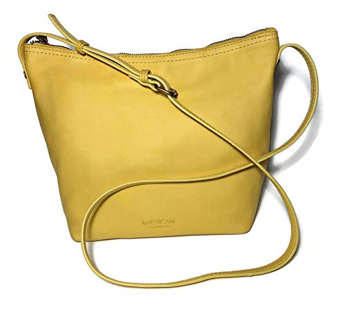 AMERICAN LEATHER Pale Yellow Smooth Crossbody Handbag