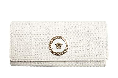 Versace 100% Leather White Logo Embellished Women's Wallet
