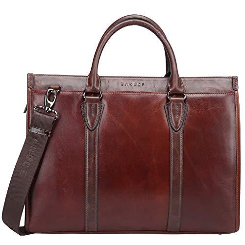 Banuce Full Grains Leather Briefcase for Men Handbags Tote Attache Case Business Shoulder Messenger Bag