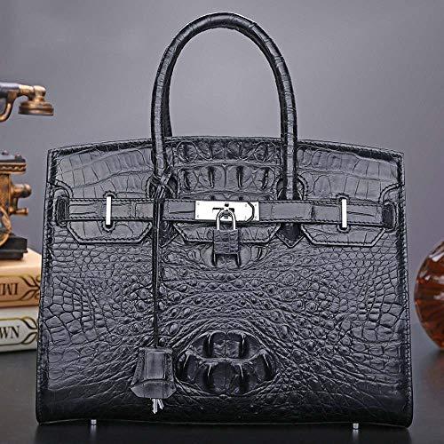 YBQ Fashion Ms. Handbag Leather Handbag New Large-Capacity Solid Platinum Interlocking Handbags 34×11.5.5x24cm (Black) Pretty