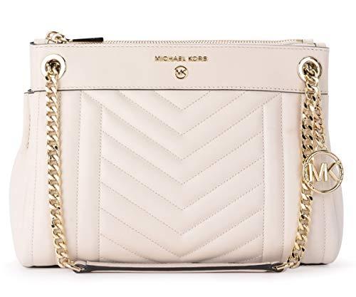 Michael Kors Michael Susan Shoulder Bag In Cream Quilted Leather Beige