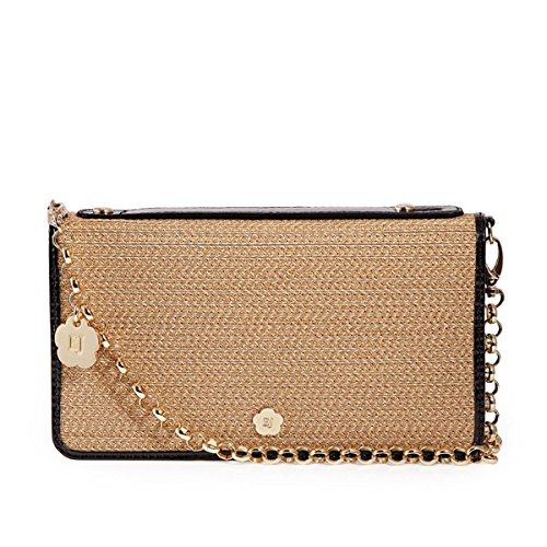 Eric Javits Luxury Fashion Designer Women's Handbag – Zip Clutch – Natural/Black Patent