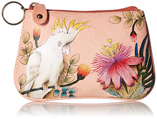 Anuschka Women's Leather Coin Purse – Genuine Soft Leather – Hand-painted Original Art – Cockatoo Sunrise