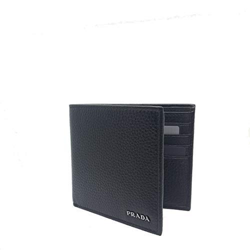 Prada Portaf. Orizzontale Nero Black Vitello Grain Leather Wallet 2MO513