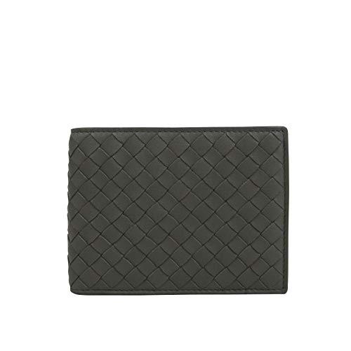 Bottega Veneta Men's Intercciaco Gray Leather Woven Bifold Wallet 148324 1300