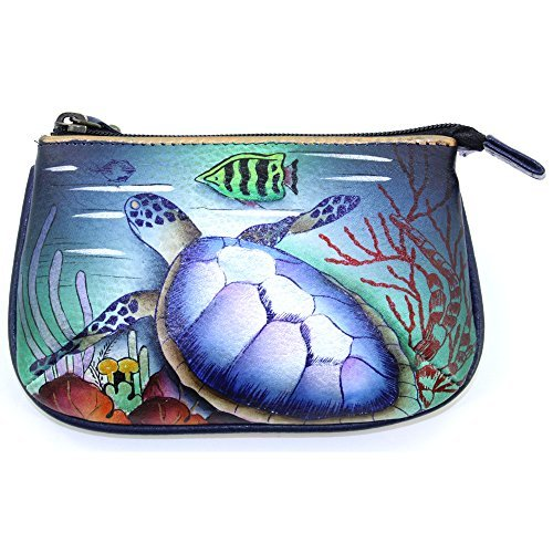 Anuschka Genuine Leather Hand Painted Medium Coin Purse (Ocean Treasures)