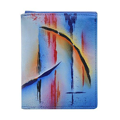 "Anuschka Hand Painted Designer Leather Wallet for Men, RFID Blocking Three fold slim wallet (Northern Skies 3004 NSK)"""