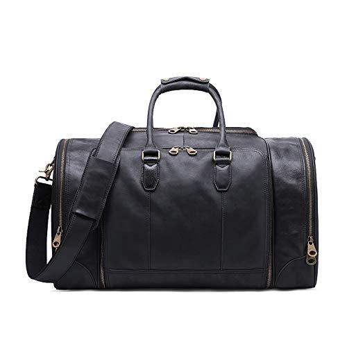 CHUNSHENN Relaxed Large Durable Capacity Luggage Bag Vintage Genuine Leather Portable Handbag Travel Shoulder Tote Bag (Color : Black)