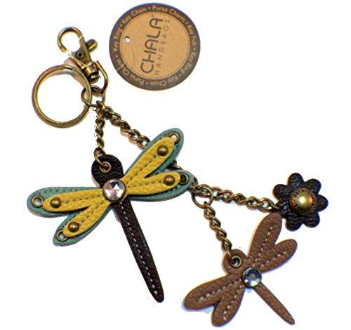 Chala Dragonfly Key Chain Purse Leather Bag Fob Charm New