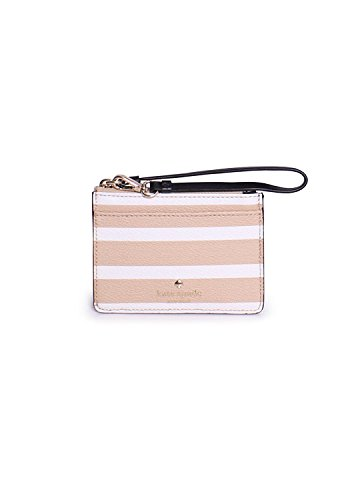 Kate Spade Hyde Lane Stripe Mellody Card Case, Camel Cream
