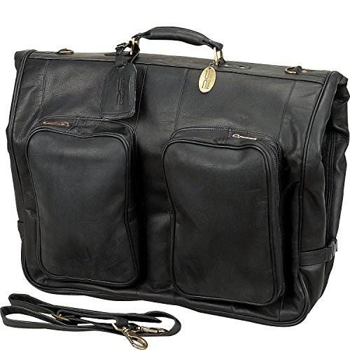 "Claire Chase Classic Leather Garment Bag (Black) (45""H x 23″W x 4″D)"