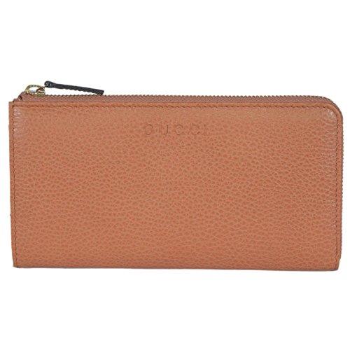 Gucci Women's Saffron Brown Leather Zip Wallet 332747