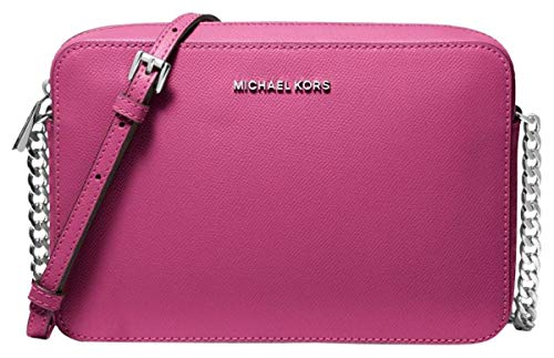 Michael Kors Jet Set Large Saffiano Leather Crossbody Bag – Deep Fuschia