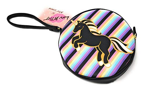 LUV BETSEY Rainbow Unicorn Striped Coin Purse