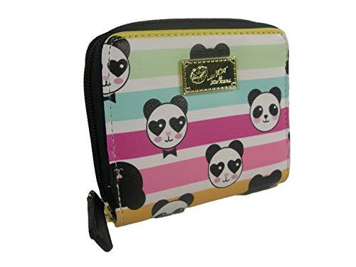 New Betsey Johnson Logo Zip Around Wallet Purse Hand Bag Panda Bears Multicolor